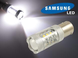 BA15s P21W LED lampa med 16x Samsung SMD för 12 V & 24 V
