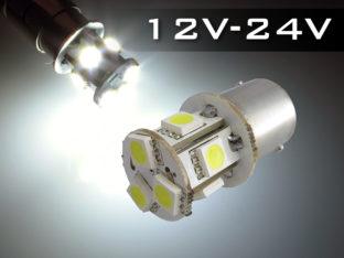 BA15s R5W & R10W LED lampa med 8x SMD för 12 V & 24 V