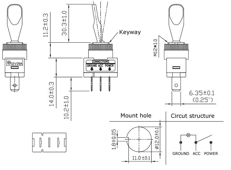 Belyst lång vippströmbrytare för 12 VDC