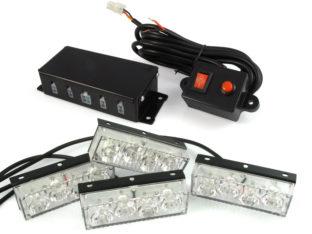Blixtljus kit med 4x LED lampor för 12 V