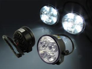 DRL varselljus set med 2x runda lampor, 4x högeffekts LED per lampa