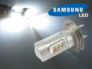 H7 LED lampa med 16x Samsung SMD för 12 V & 24 V