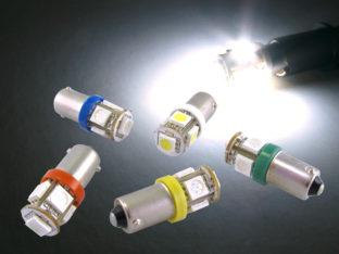 Polfri BA9s T4W LED lampa med 5x 5050 SMD för 12 V & 24 V